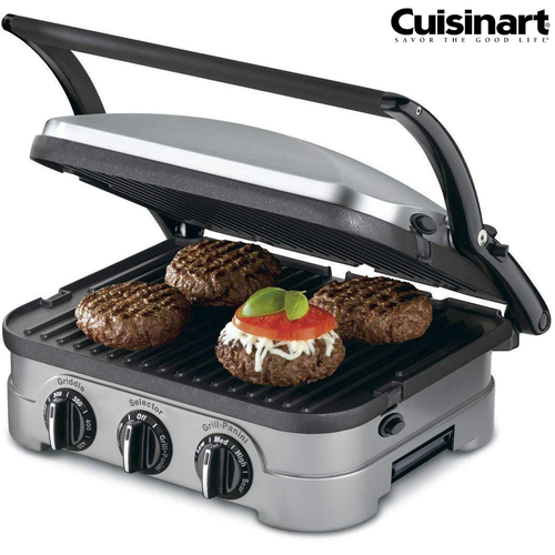 Cuisinart GRID-8 5-in-1 Griddler Contact Countertop Grill Panini Press Griddle - (Renewed)