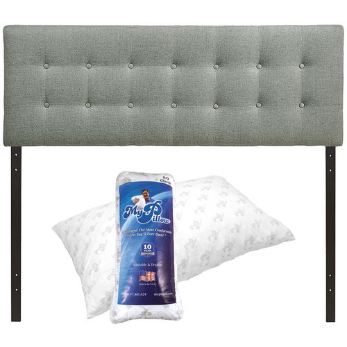 Modway Emily Queen Upholstered Fabric Headboard (Gray) and MyPillow Medium Fill Pillow