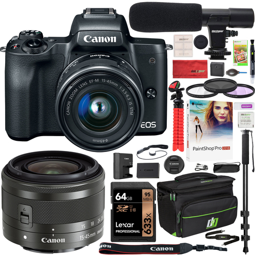 Canon EOS M50 Mirrorless Digital Camera Black with 15-45mm Lens Deluxe Bundle