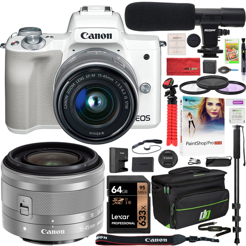 Canon EOS M50 Mirrorless Digital Camera White with 15-45mm Lens Deluxe Bundle