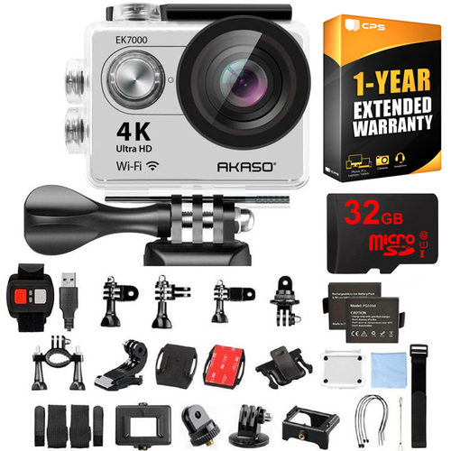 Akaso EK7000 UHD 4k Wide Waterproof Sports Action Camera Silver w/ 32GB+Warranty