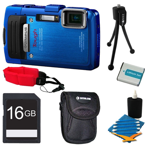 Olympus TG-830 iHS STYLUS Tough 16 MP 1080p HD Digital Camera Blue 16GB Kit