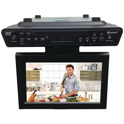 Sylvania SKCR2706BT 10.2` Under Cabinet Kitchen Bluetooth TV w Built-In DVD Player & HDMI