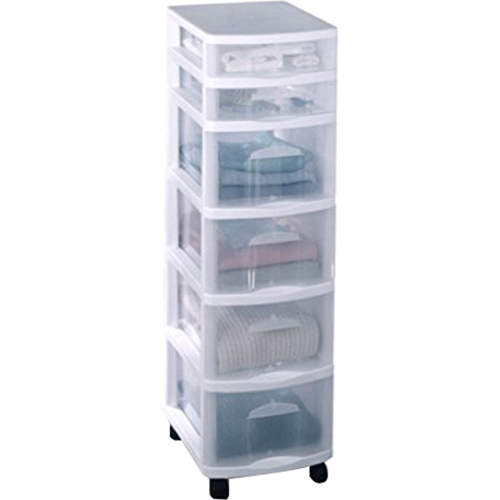 Home Products 6 Drawer Medium Cart White