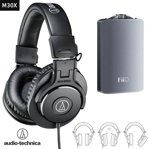 Audio-Technica ATH-M30x Wired Headphones  + FiiO A3 Headphone Amplifier