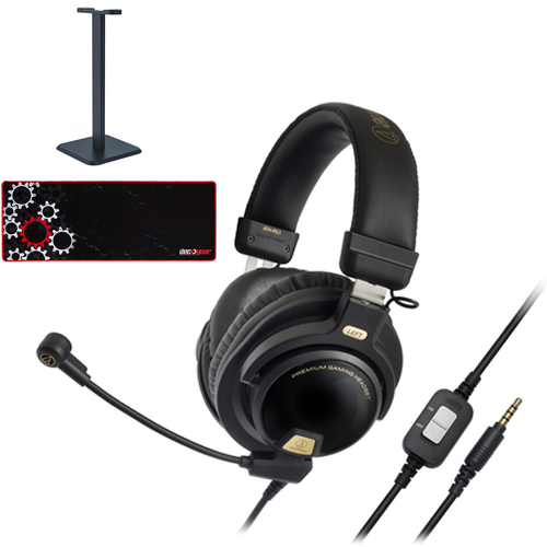 Audio-Technica Closed-Back Premium Gaming Headset with Microphone +Accessories Bundle
