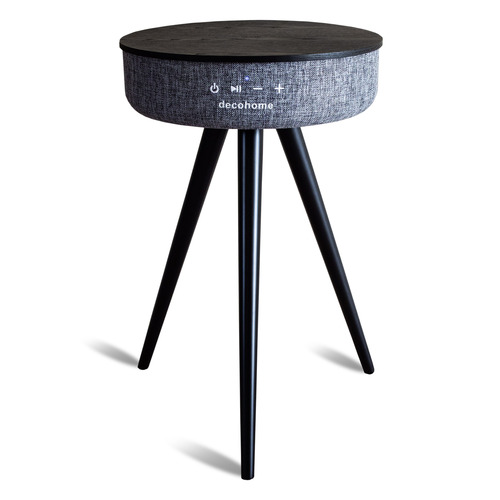 Bluetooth Speaker Table with USB and Wireless Charging - Gray