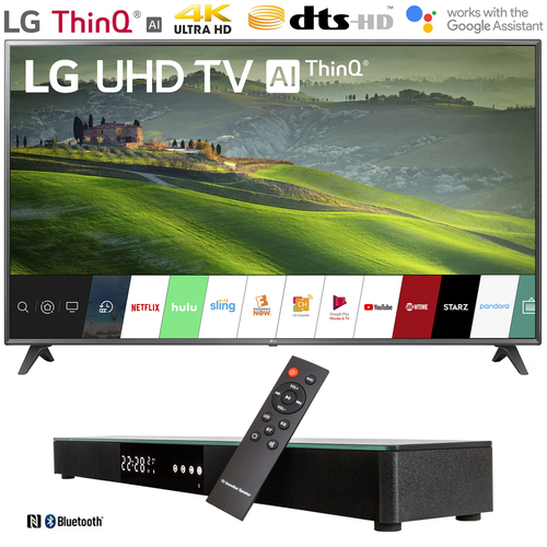 LG 75UM6970 75` HDR 4K UHD Smart IPS LED TV (2019) with 31` Soundbar Bundle