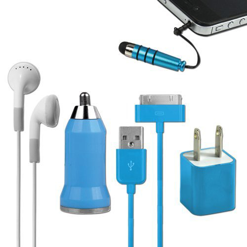 5-in-1 Travel Kit for iPhone 4/4S and 4th Generation iPods - Blue
