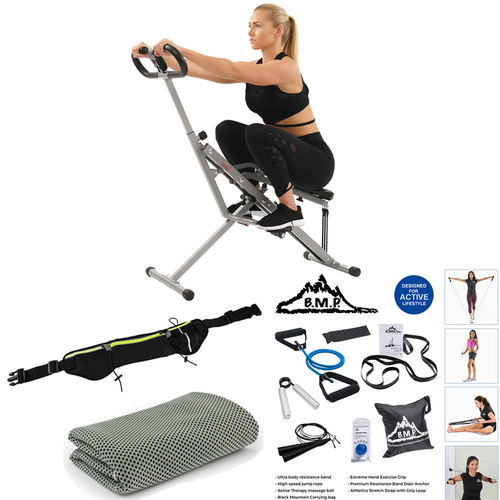 Sunny Health and Fitness Upright Assist Row-N-Ride for Squat and Glutes Workout with Cooling Towel (Grey)