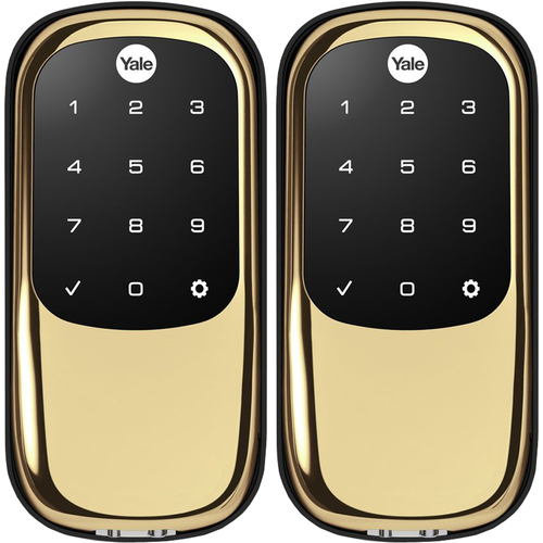 Yale Locks Assure Lock Key Free with B.tooth and Z-Wave Polished Brass 2 Pack