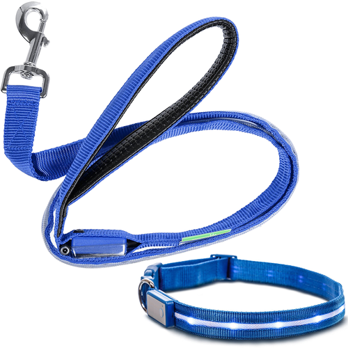 Deco Pet LED Dog Leash and Collar with 3 Light Modes, Battery-Powered - Blue