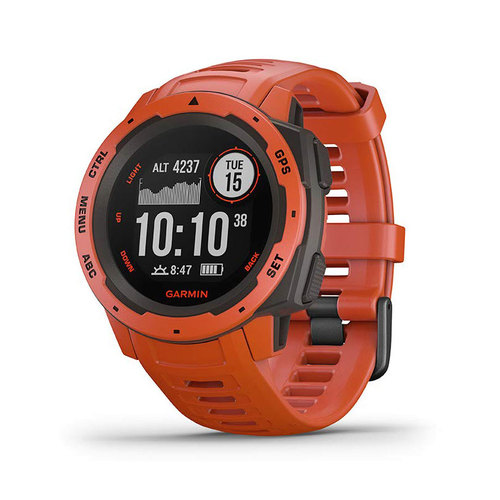Garmin Instinct Rugged Outdoor Watch with GPS, and Heart Rate Monitoring, Flame Red