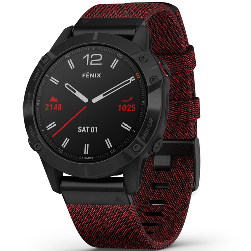 Garmin fenix 6 Sapphire Multisport GPS Smartwatch Black DLC Heathered Red Nylon Band