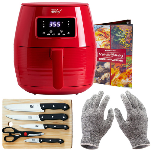 Deco Chef Digital 5.8QT Electric Air Fryer w/ Cut Resistant Gloves & Knife Set - Red