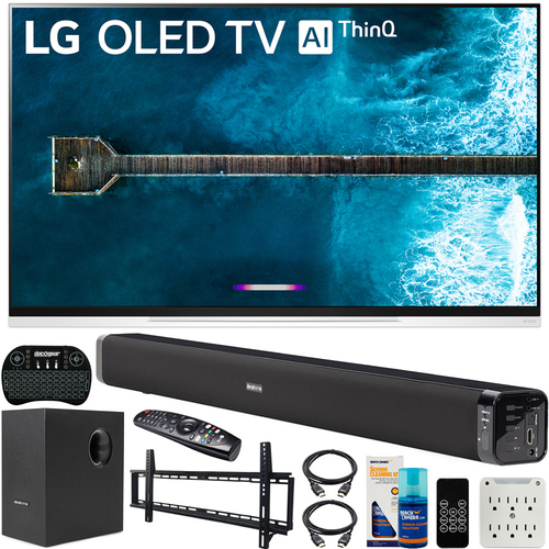 LG 65` E9 4K HDR OLED Glass Smart TV (2019) Bundle with Deco Gear Soundbar & more