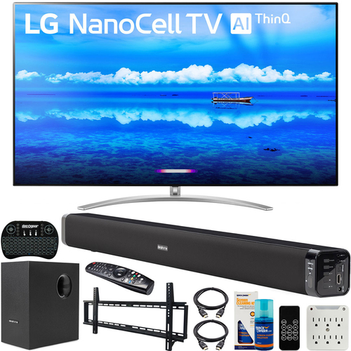 LG 65` 4K HDR Smart LED NanoCell TV (2019) Bundle with Deco Gear Soundbar & more