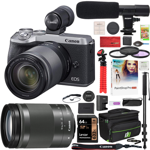 Canon EOS M6 Mark II Mirrorless Camera + 18-150mm Lens + EVF Microphone Pro Kit Silver