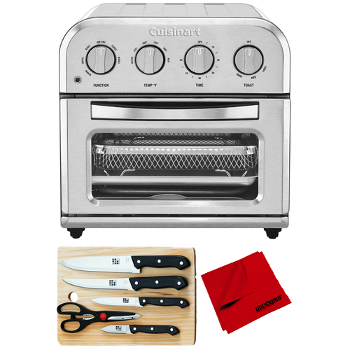 Cuisinart TOA-28 Compact AirFryer Toaster Oven Silver with Knife Set Bundle