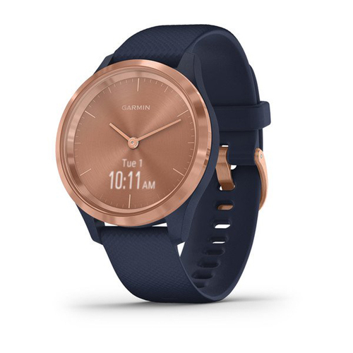 Garmin VIVOMOVE 3S Hybrid Smartwatch w/ Hidden Touchscreen - (Rose Gold w/ Navy Band)