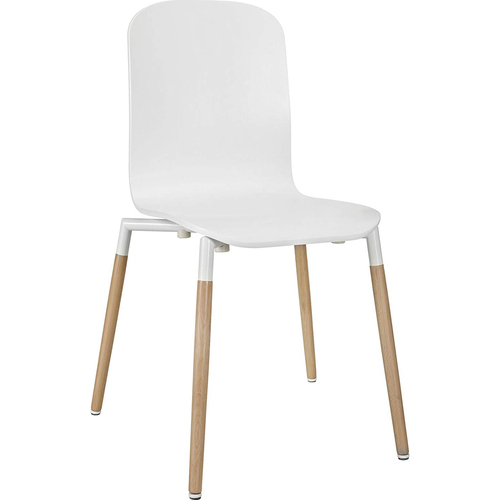 Modway Stack Dining Wood Side Chair in White / Stack - Open Box