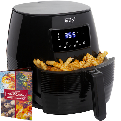 Deco Chef Digital 5.8QT Electric Air Fryer - Healthier & Faster Cooking - Black