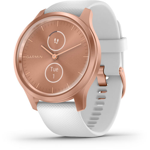Garmin Vivomove Style Light Gold Aluminum Case w/Blush Pink Woven Nylon Band Smartwatch