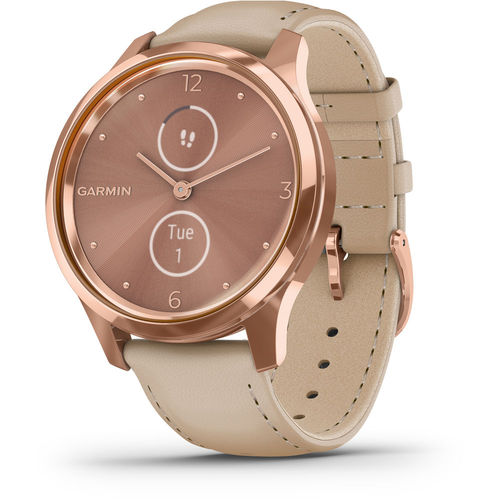 Garmin vivomove Luxe Smartwatch 18K Rose Gold PVD Stainless Steel Case Light Sand Band
