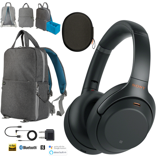Sony WH-1000XM3 Wireless Noise Cancelling Headphones Black Backpack Travel Bundle