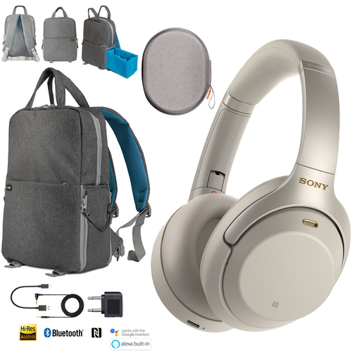 Sony WH-1000XM3 Wireless Noise Cancelling Headphones Silver Backpack Travel Bundle