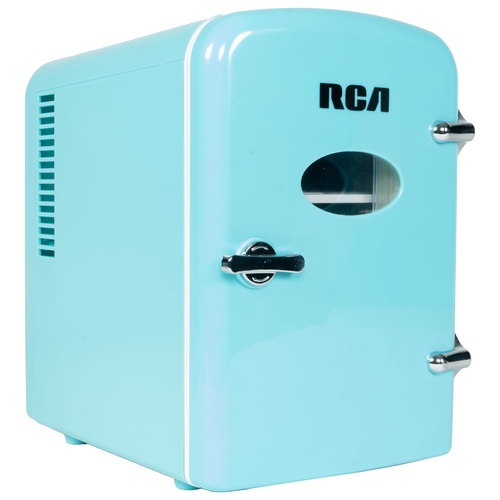 RCA Mini Retro Fridge 6 Can Beverage Compact Refrigerator and Warmer - Blue