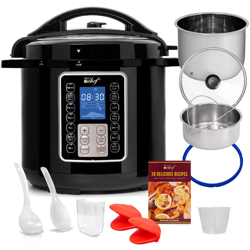 Deco Chef 8 QT 10-in-1 Pressure and Slow Cooker -  Multi-Mode Cooking with Accessories