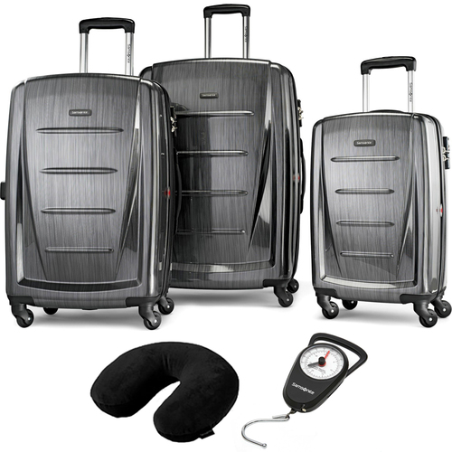 Samsonite Winfield 2 Fashion Hardside 3Pcs Spinner Set Charcoal + Pillow & Scale