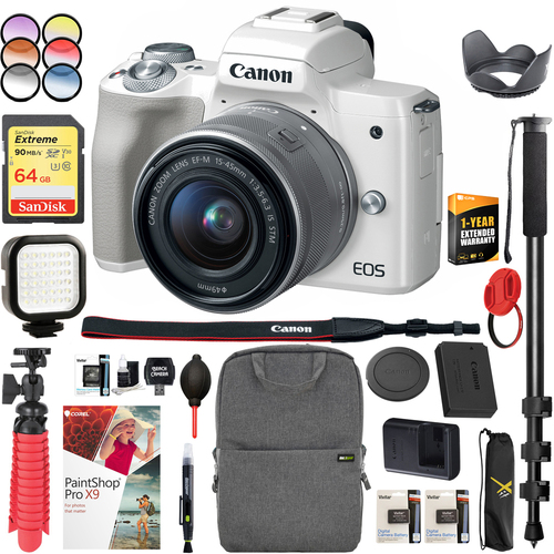 Canon EOS M50 Mirrorless Digital Camera with 4K Video (White) 15-45mm Lens Kit Bundle