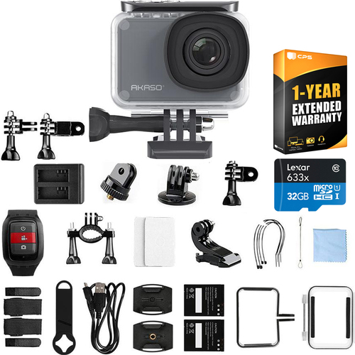 Akaso V50 Pro 4K/30 fps 20MP WiFi Waterproof Action Camera + Extended Warranty Bundle