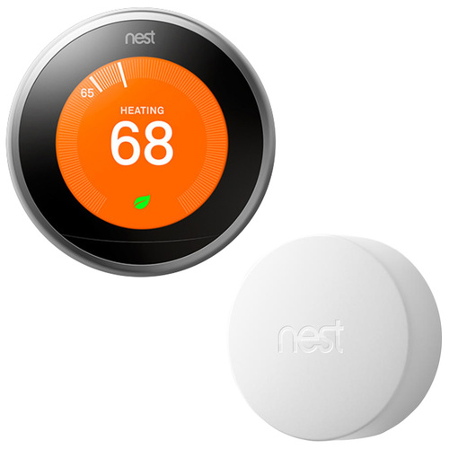 Google Nest Learning Thermostat (3rd Gen, Stainless Steel) w/ Nest Temperature Sensor Bundle