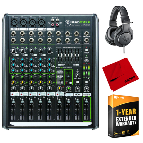Mackie 8 Channel Professional FX Mixer + Headphones and Warranty Bundle