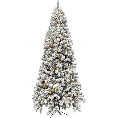 Fraser Hill Fraser Hill Farm 6.5  Alaskan Flocked Christmas Tree - 8F Clr LED EZ