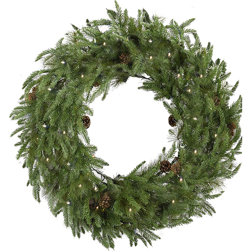 Fraser Hill Fraser Hill Farm 48  Norway Pine Wreath - Clear LED Lights Battery Box