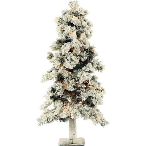 Fraser Hill 2 Ft. Snowy Alpine Tree with Clear Lights - FFSA020-1SN
