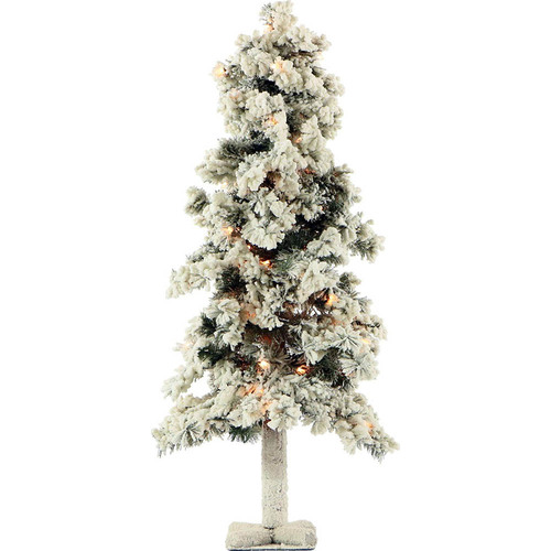 Fraser Hill Farm 3 Ft. Snowy Alpine Tree with Clear Lights - FFSA030-1SN
