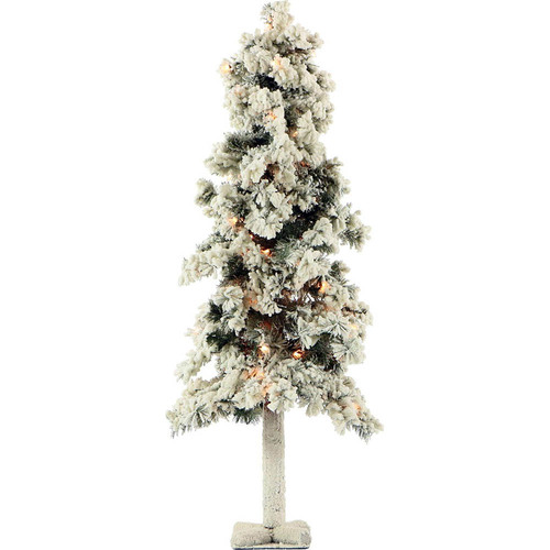 Fraser Hill Farm 4 Ft. Snowy Alpine Tree with Clear Lights - FFSA040-1SN