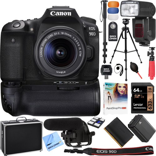 Canon EOS 90D 32.5MP CMOS Digital SLR Camera w/ EF-S 18-55mm IS STM Lens & More Bundle