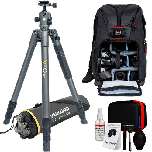 Vanguard VEO 2 264AB Tripod with VEO 2 BH-50 Ball Head and Deco Gear Backpack Bundle