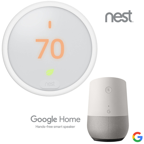 Nest Smart Learning Thermostat E  + Google Home Smart Speaker