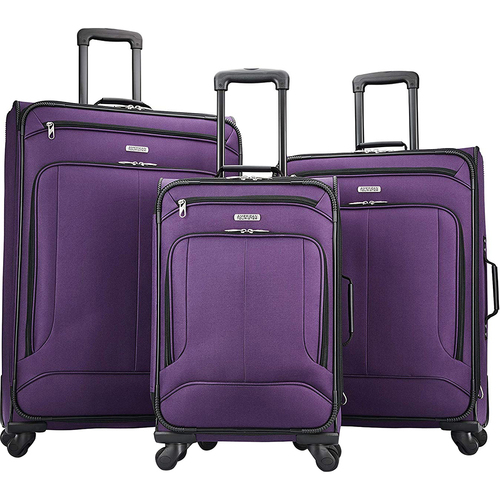 American Tourister Pop Max 3 Piece Luggage Spinner Set - 29/25/21(Purple)(115358-1717) - Open Box