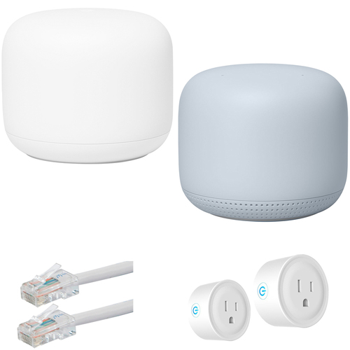 Google Nest Wifi Router and Point S1 + C1, Mist (2PK) with Accessories Bundle
