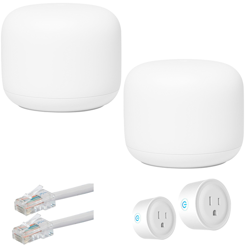 Google Nest Wifi Router and Point S1 + C1, White (2PK) with Accessories Bundle