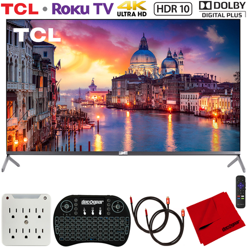 TCL 55` 6-Series 4K QLED UHD HDR Roku Smart TV (2019) w/ Accessories Bundle