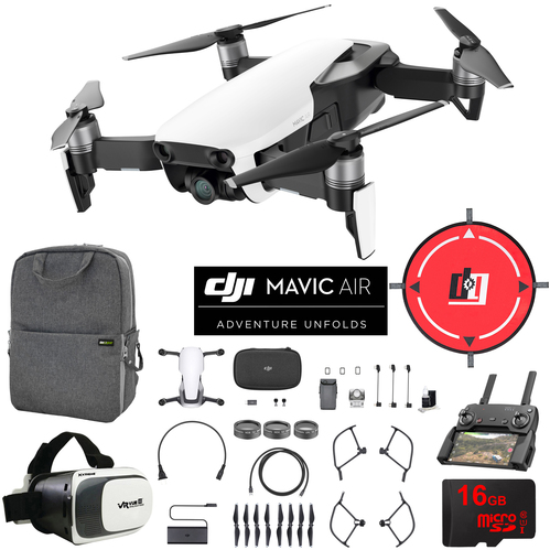 DJI Mavic Air Arctic White Drone Mobile Go Kit Pack VR Goggles Landing Pad 16GB Card
